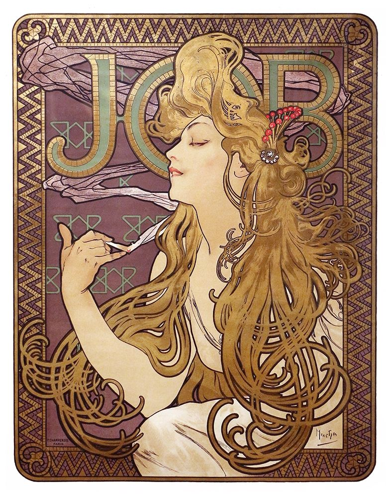 Wall art: Job Cigarette Rolling Papers Advertisement, 1897, by Mucha, Alphonse