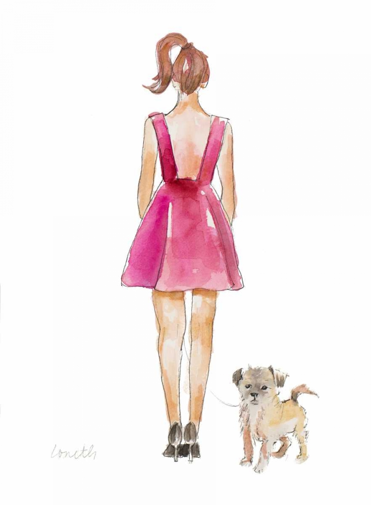 Wall art: Water Color Girl With Puppy I, by Loreth, Lanie