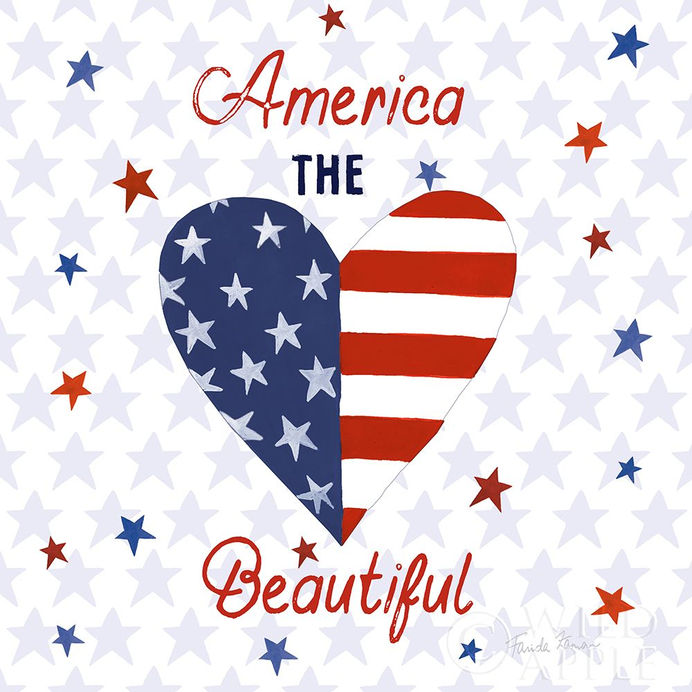 Wall art: America the Beautiful II Square, by Zaman, Farida