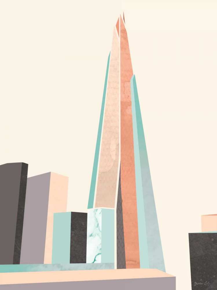 Wall art: Graphic Pastel Architecture I, by Green Lili