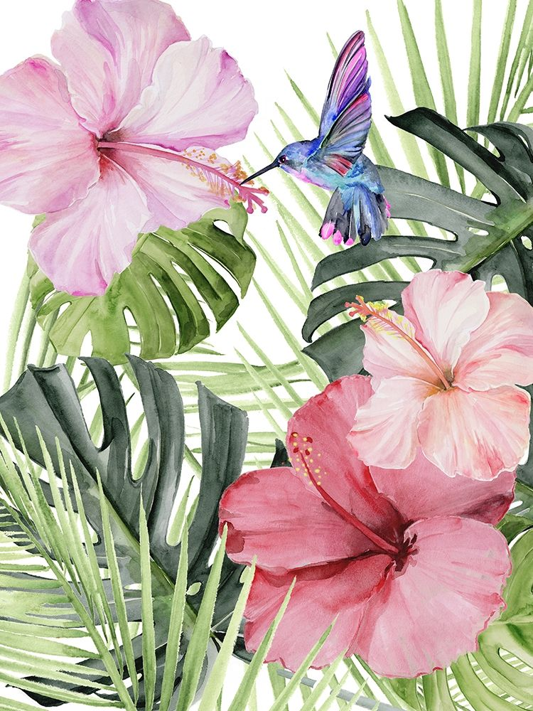 Wall art: Hibiscus and Hummingbird I, by Parker, Jennifer Paxton