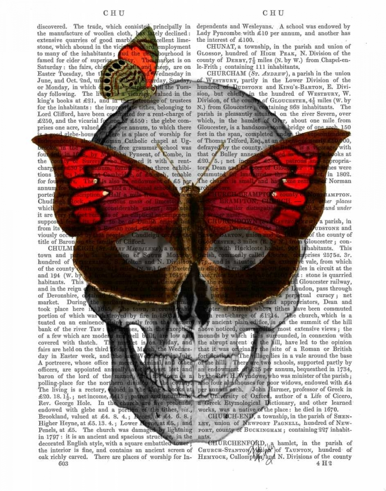 Wall art: Pink Butterfly Mask Skull, by Fab Funky
