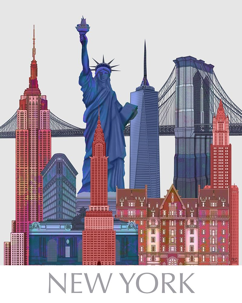 Wall art: New York Landmarks , Red Blue, by Fab Funky