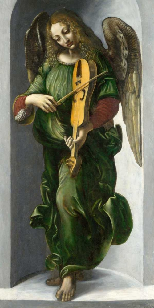 Wall art: An Angel in Green with a Vielle, by After Leonardo da Vinci