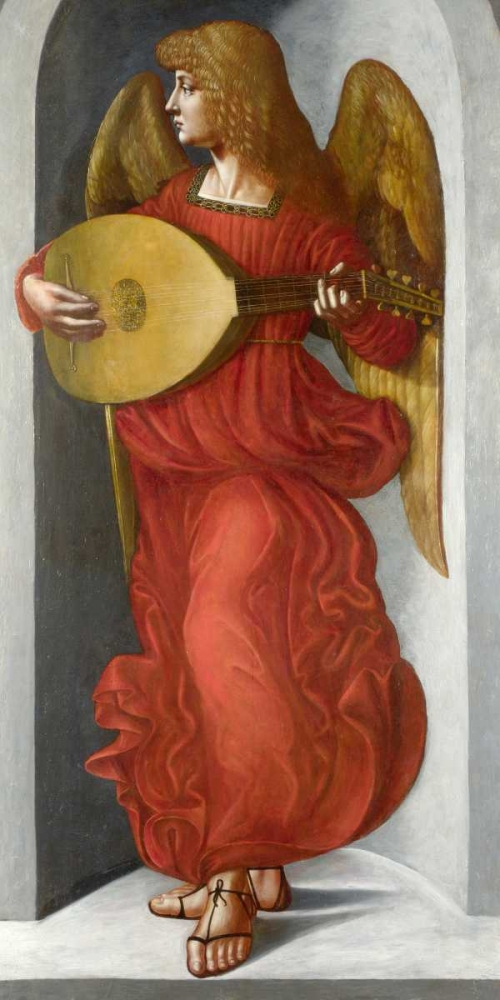 Wall art: An Angel in Red with a Lute, by After Leonardo da Vinci
