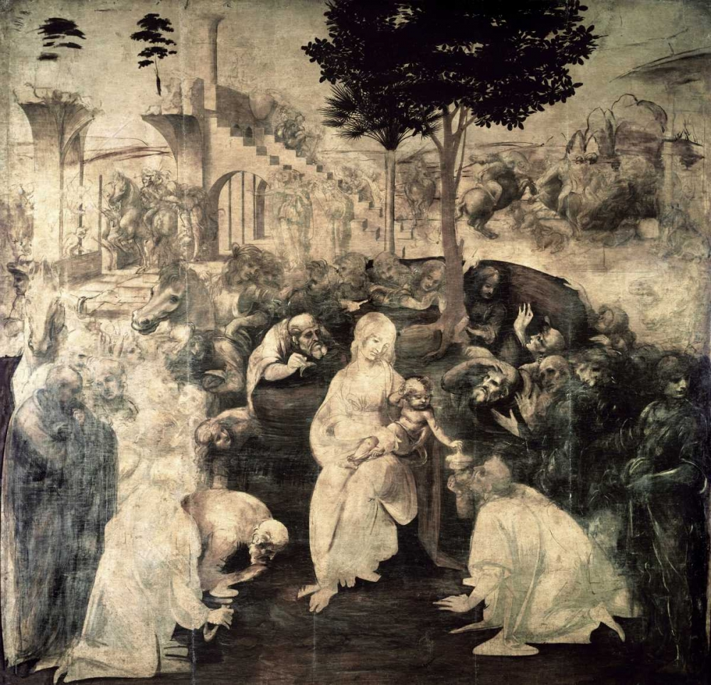 Wall art: The Adoration of the Magi - underpainting, by Da Vinci, Leonardo