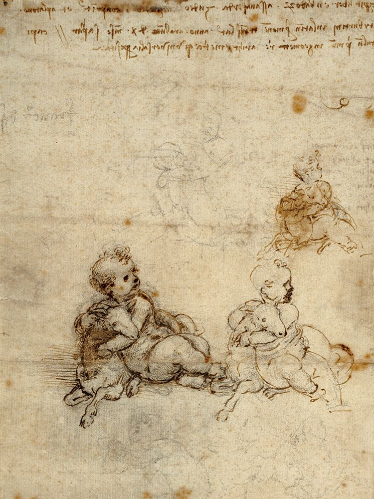 Wall art: Studies for the Christ Child with a Lamb (recto), by Da Vinci, Leonardo
