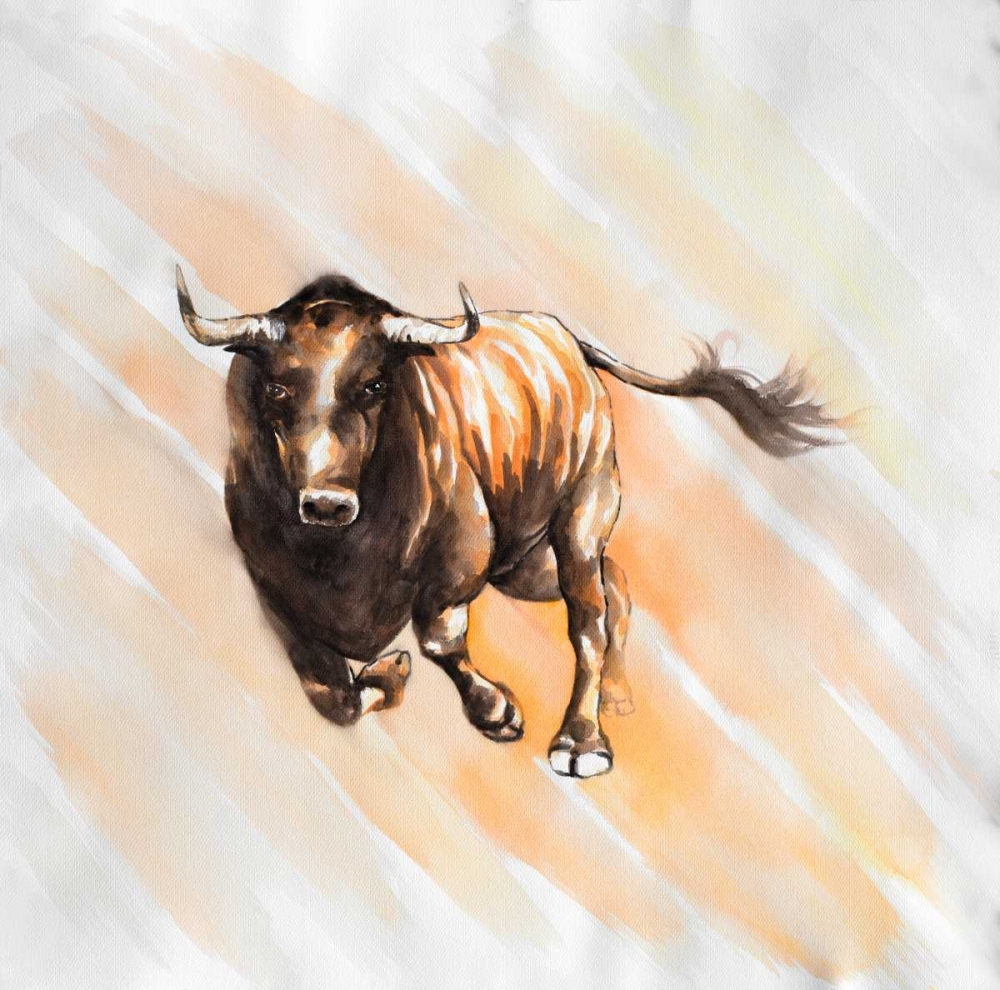 Wall art: Bull Run in Watercolor, by Atelier B Art Studio