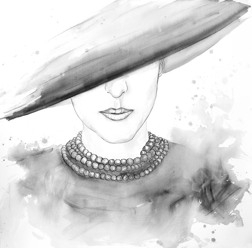 Wall art: MYSTERIOUS LADY WITH A HAT SKETCH, by Atelier B Art Studio