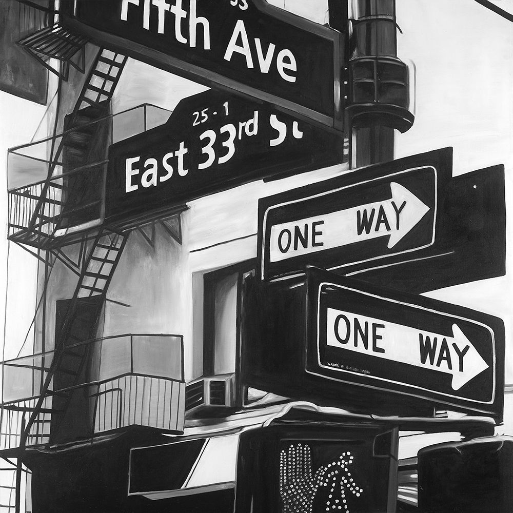 Wall art: New York City Signs in Front of an Appartment , by Atelier B Art Studio