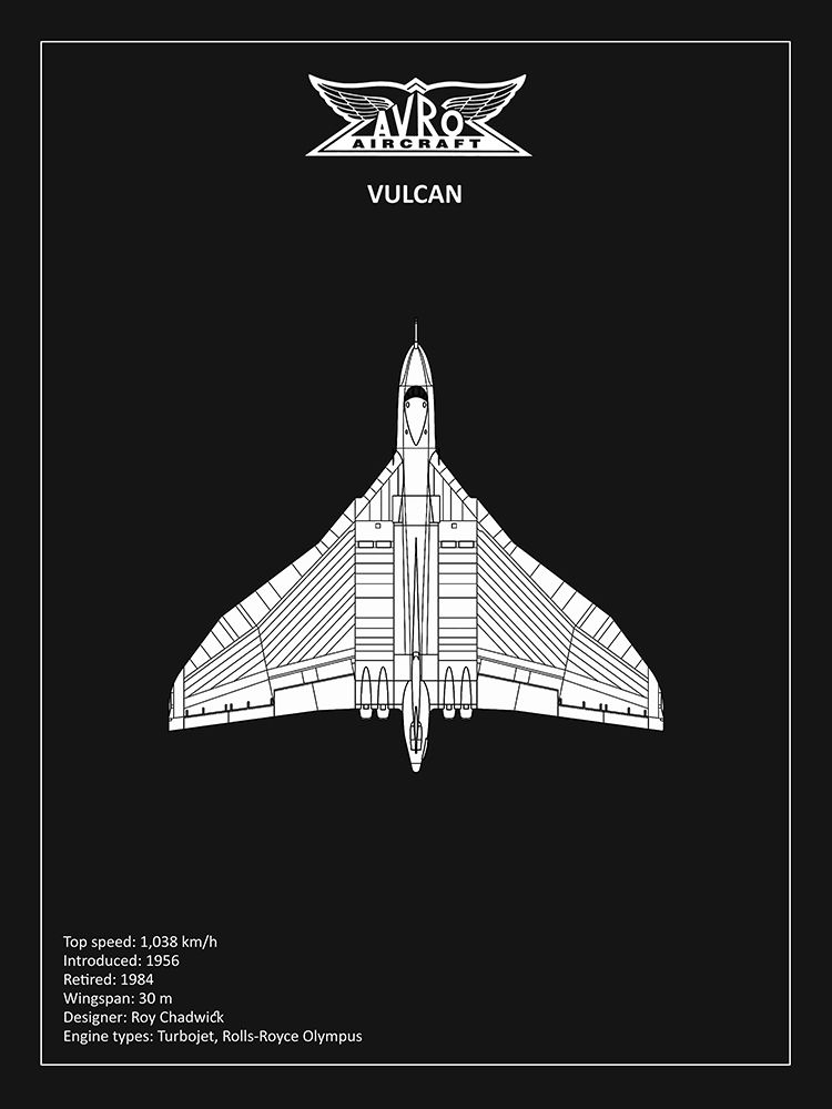 Wall art: BP Avro Vulcan Black , by Rogan, Mark