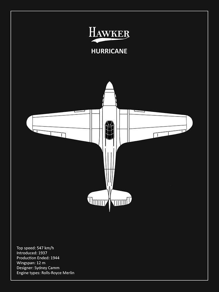 Wall art: BP Hawker Hurricane Black , by Rogan, Mark